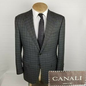 Canali Mens Sport Coat 42R Wool Gray Plaid
